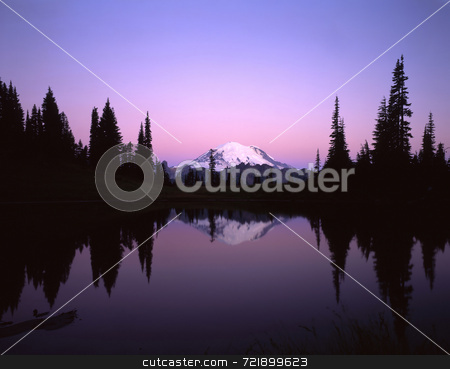 Mt. Rainier stock photo, Mt. Rainier reflecting in Tipsoo Lake in Mt. Rainier National Park, Washington State. by Mike Norton