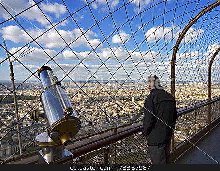 Watching Paris from above the Eiffel tower stock photo,  by Luca Mosconi