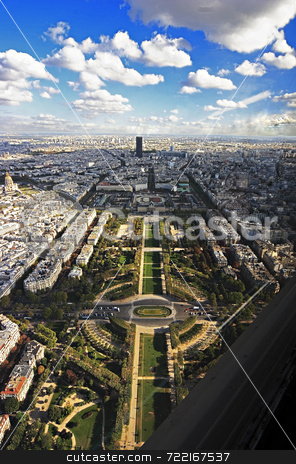Paris from above the Eiffel tower stock photo,  by Luca Mosconi