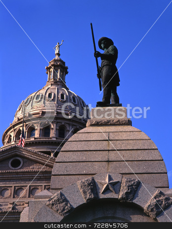 Statue and Texas Capitol stock photo, A statue and the Texas State Capitol Dome in Austin, Texas. by Mike Norton