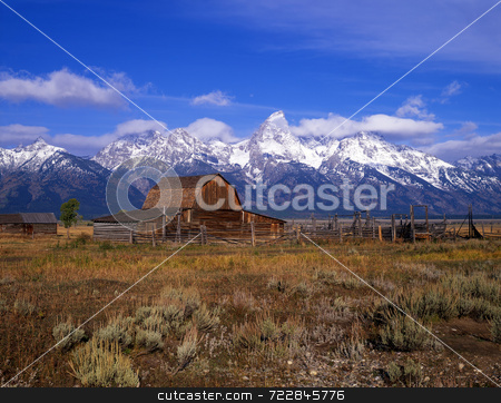 Teton Ranch stock photo, An old cattle ranch in Grand Teton National Park, Wyoming. by Mike Norton