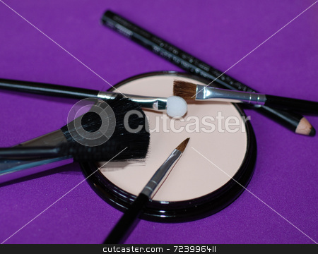 A selection of Cosmetics stock photo, A selection of make-up, cosmetics and accessories. by Philippa Willitts