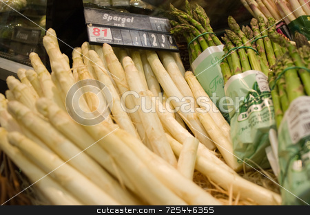 Bundles of white and green asparagus for sale at a store in Germ stock photo, KONICA MINOLTA DIGITAL CAMERA by Thomas Gavagan