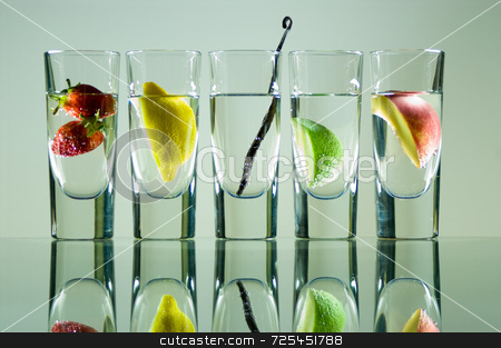 Vodka glasses with fuit stock photo, KONICA MINOLTA DIGITAL CAMERA by Thomas Gavagan