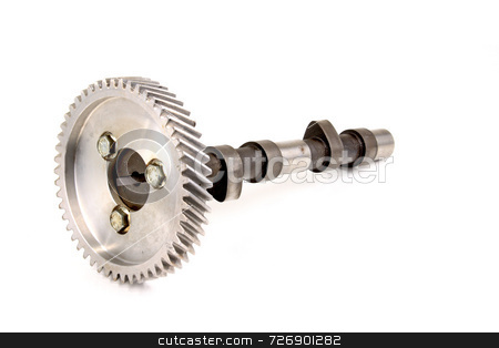 Camshaft stock photo, Used auto part camshaft and timing gear by Jack Schiffer