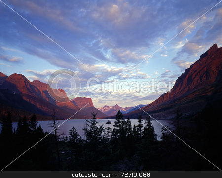 Wild Goose Island stock photo, Wild Goose Island in St. Mary Lake located in Glacier National Park, Montana. by Mike Norton