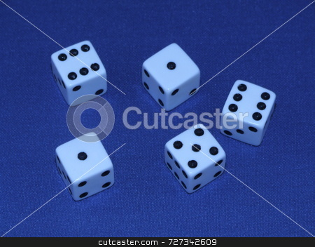 Five dice stock photo,  by Stephen Rothwell
