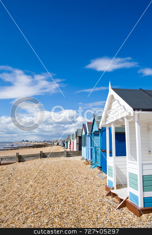 4818ecc675b70 stock photo, Beach huts at the British seaside in summer by Jon Stokes