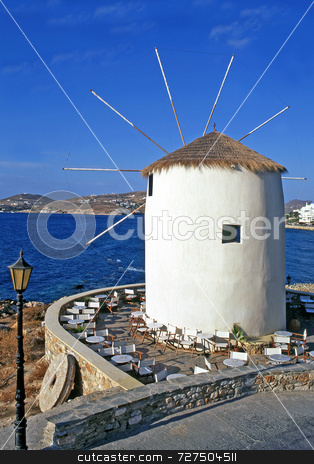 Converted windmill stock photo, A converted windmill on the greek island of Mykonos made into a bar by Paul Phillips