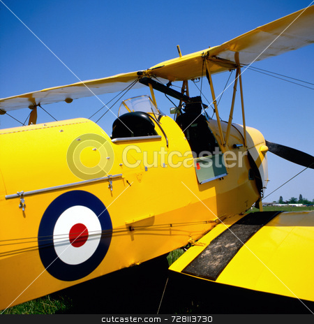 Yellow biplane stock photo, Cockpit of an old biplane with RAF logo by Paul Phillips
