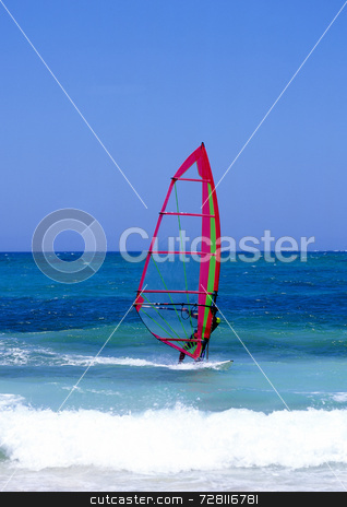 Windsurfing stock photo, Windsurfer on Lanzarote, Canary Islands by Paul Phillips