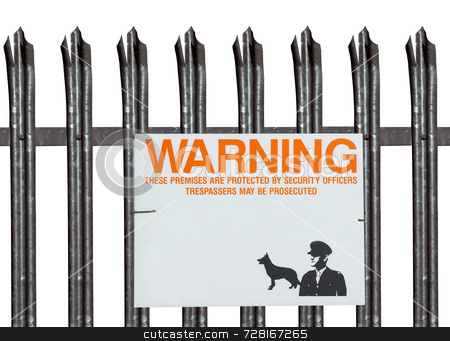 Isolated fence and warning sign stock photo, Isolated fence and warning sign around an industrial unit by Paul Phillips