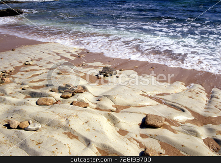 Stony beach stock photo, Stony beach on the northern coastline of Cyprus by Paul Phillips