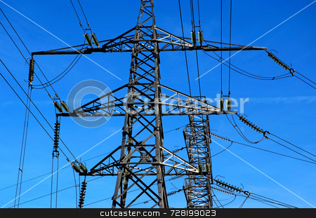 Two electricity pylons stock photo, Two electricity pylons with a blue sky background by Paul Phillips