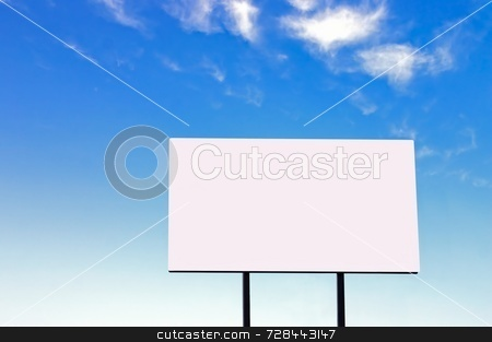 Billboard on a beautiful blue sky - large version stock photo, Brand new billboard and a wispy blue sky - larger sign than a similar image in my portfolio by Mitch Aunger