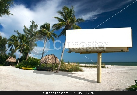 Tropical Paradise with billboard stock photo, Tropical beach setting with a place to eat - included is a white billboard for you to place text or an advertisement - maybe for a travel ad? by Mitch Aunger
