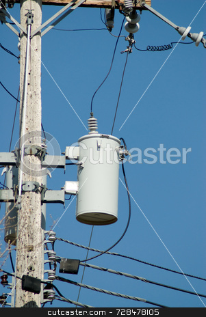 Power Pole stock photo, Powerline pole shot against a blue cloudless sky by Richard Nelson