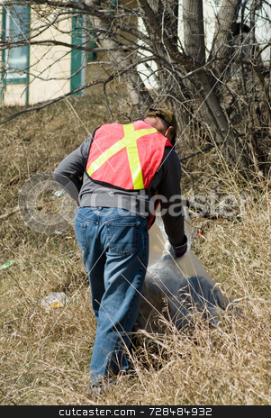 Spring Clean-up stock photo, A man working for the town, doing spring clean-up by Richard Nelson