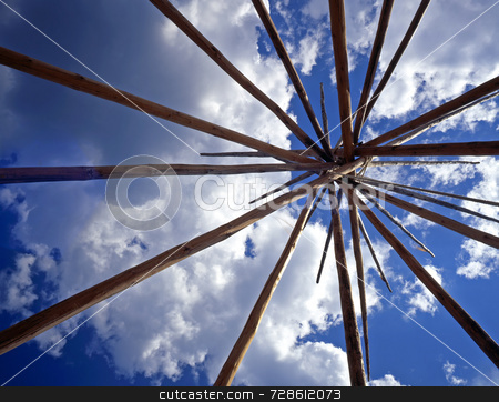 Tepee Lodge Poles stock photo, Looking up at the lodge poles of a tepee. by Mike Norton