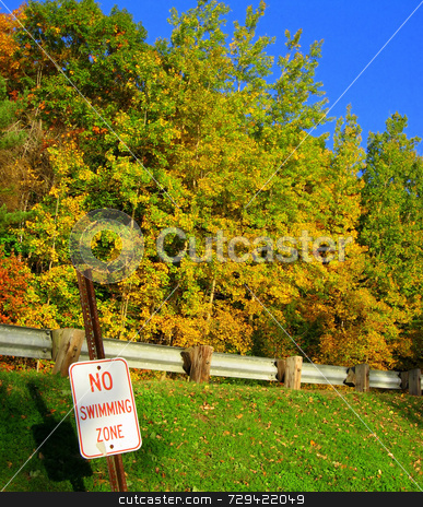 No swimming zone  stock photo, No swimming zone sign with trees in the background. by Tom and Beth Pulsipher