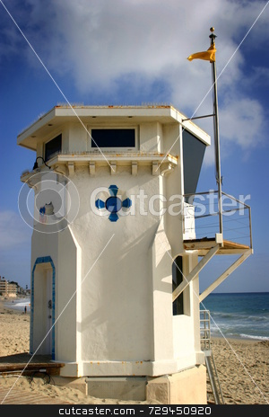 Lifeguard Tower stock photo, Laguan Beach lifeguard tower with the ocean in the background. by Henrik Lehnerer
