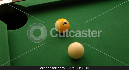 Pool ball corner pocket stock photo, A game of pool with a shot lined up for the corner by Tim Markley