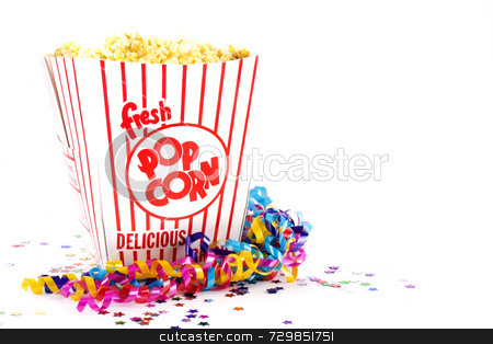 Popcorn for party stock photo, Popcorn in large bucket with confetti and streamers by Willis Shackleford