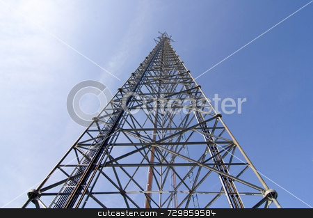 Cellular Tower stock photo, Cellular tower with clear blue sky by Willis Shackleford