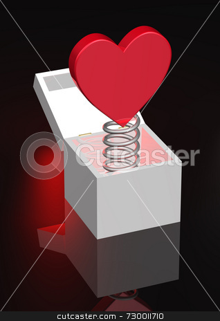 Red Heart on Coil Spring in Box stock photo, Red heart on coil spring set in a white box with open lid. Red glow backlight behind. Coil spring is metal and has good reflections. by ngirl