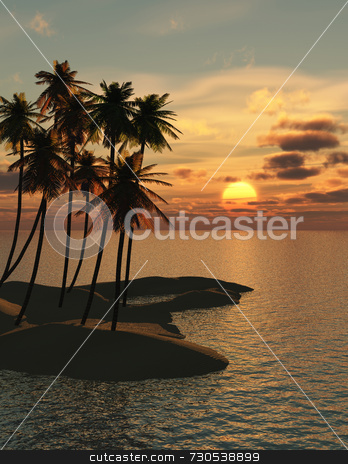 Palm Trees Sunset stock photo, Palm trees in a group on a small imaginary tropical island with a beautiful sunset. Golden sun with varied clouds and sparkling water. by ngirl