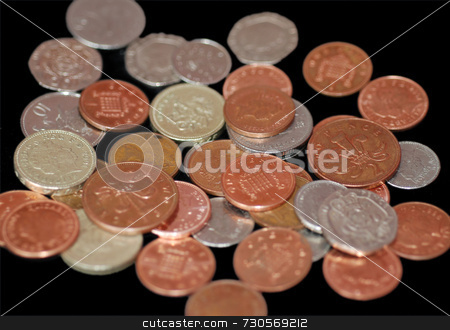 Pile of UK Coins stock photo, A selection of British coins, from a penny to a pound by Philippa Willitts