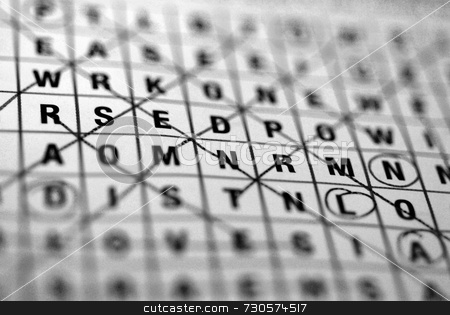 Wordsearch stock photo, A wordsearch puzzle close-up in black and white by Philippa Willitts