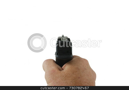 Shooters Point Of View stock photo, An isolated shooters view amaing a handgun by Lynn Bendickson