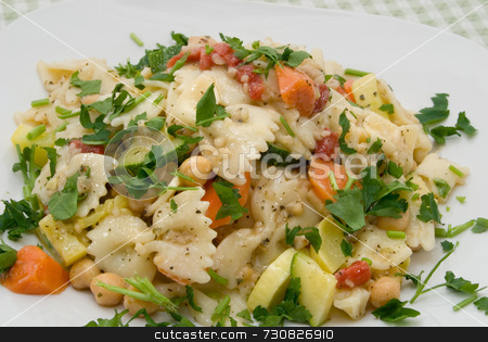 Bow Tie Pasta Salad stock photo, Bow tie pasta salad with parsley, carrots, garbanzo beans, summer squash, and minced garlic on white plate. by ngirl