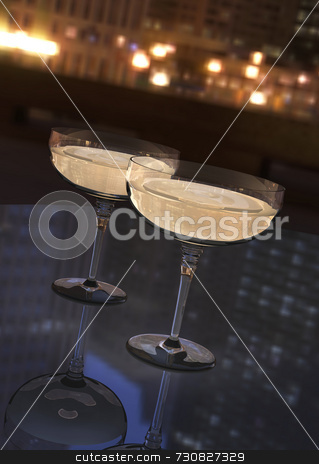 Champagne At Night stock photo, Digital illustration of two champagne glasses on an imaginary tabletop in an urban area at night. Beautiful refletioons and good liquid and glass detail. Great to illustrate city nightlife. by ngirl