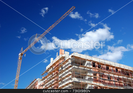 Building under construction stock photo, New building under construction with scaffold and crane by Massimiliano Leban