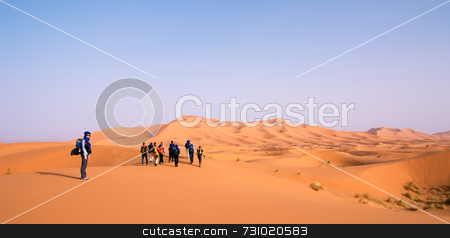 Hiking Group At Erg Cebbi stock photo, Hiking Group in the Sahara Desert at Erg Chebbi, Morocco by Jan-Peter Von Hunnius