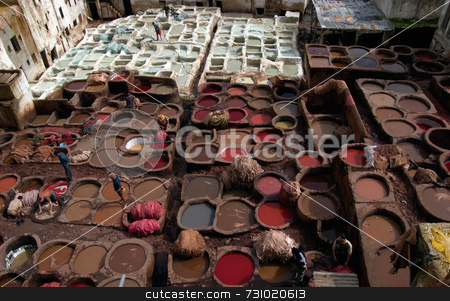 Tannery In Marrakesh stock photo, Leather Work in the Tannery in Marrakesh, Morocco by Jan-Peter Von Hunnius