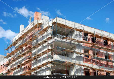 Building under construction stock photo, New building under construction with scaffold by Massimiliano Leban