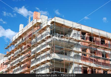 Building under construction stock photo, New building under construction with scaffold by Massimiliano Leban