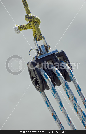 Sailing pulley stock photo, Pulley with ropes on a boat by Massimiliano Leban