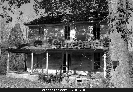 This old house stock photo, Black and white photo of an old abandoned house by Tim Markley