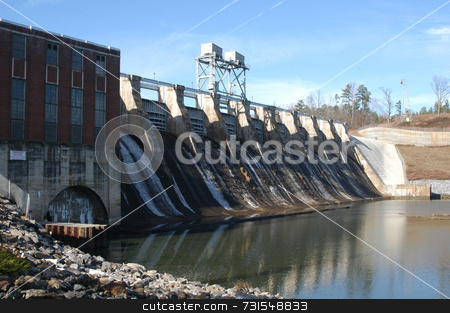 River dam stock photo, Dam along the river in North Carolina by Tim Markley