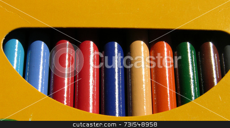 Colored pencils in a box stock photo, Colored pencils seen up close by Tim Markley