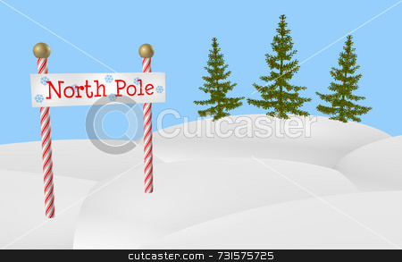 North Pole Sign stock photo, North Pole sign on two red and white peppermint stripe vertical posts and evergreen trees in background. Simple and fun, posts are topped with gold metal spheres or balls. North Pole sign area has blue snowflakes and simple wooden texture. Dimensional snow mounds and blue sky with lots of room for design text and additions. Suited to Christmas holiday season. by ngirl
