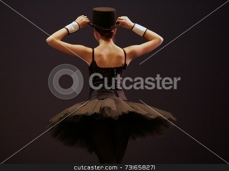 Top Hat and Tutu stock photo, Back of woman in top hat and tutu by Trevor Millions