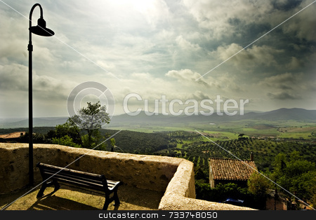 Tuscany landscape stock photo, Landscape from balcony by Luca Mosconi