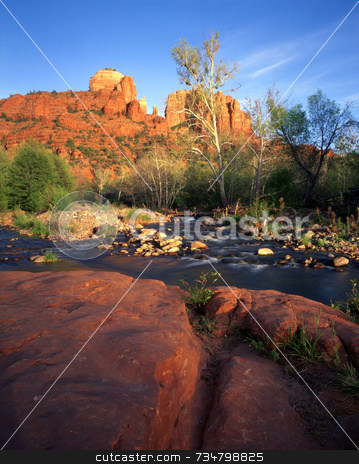 Cathedral Rock stock photo, Cathedral Rock and Oak Creek in Sedona, Arizona. by Mike Norton