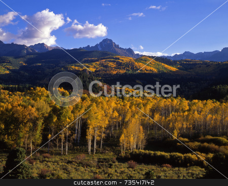 Mt. Sneffels stock photo, Mt. Sneffels in the Uncompahgre National Forest, Colorado, photographed during the autumn season. by Mike Norton