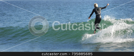 Longboard Surfer stock photo, Surfer Rincon Beach, California by A Cotton Photo